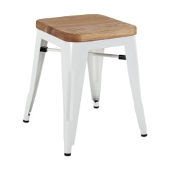 White Wood Stool Chair 46cm