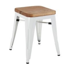 White Wood Stool Chair 46cm